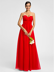 A-Line Sweetheart Floor Length Chiffon Bridesmaid Dress with Criss Cross by LAN TING BRIDE®