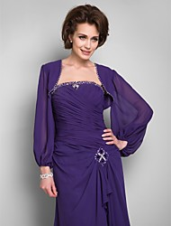 cheap -Long Sleeves Chiffon Wedding Party Evening Casual Office & Career Wedding  Wraps With Beading Coats / Jackets