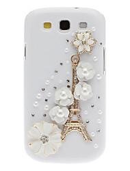 Bling Bling Noble Eiffel et cas dur de conception de fleur avec strass pour Samsung Galaxy S3 I9300