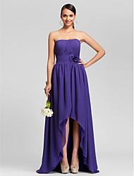 cheap -Asymmetrical / Sweep / Brush Train Chiffon Bridesmaid Dress A-line / Princess Strapless Plus Size / Petite withDraping / Flower(s) / Side
