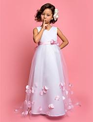 Vestido de menina de flor com trem de varredura a linha / tulle com v-neck sem mangas de tul por lan ting bride®
