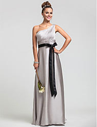 cheap -Sheath / Column One Shoulder Floor Length Satin Chiffon Bridesmaid Dress with Beading Side Draping Ruching by LAN TING BRIDE®