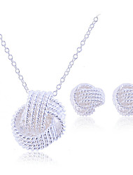 Lureme women's 925 Sterling Silver Plated Braided Knot Jewelry Set(Necklace & Earrings)