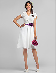A-Line V-neck Knee Length Chiffon Bridesmaid Dress with Flower(s) Sash / Ribbon Criss Cross by LAN TING BRIDE®