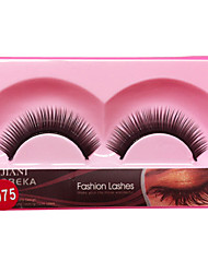 cheap -1 Pair Black False Eyelashes Lengthening Thicker Fiber Natural Looking Curved Lashes Eye