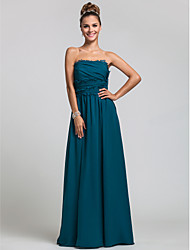 Sheath / Column Strapless Floor Length Chiffon Bridesmaid Dress with Side Draping Ruffles by LAN TING BRIDE®