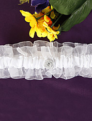 cheap -Lace Organza Satin Wedding Garter with Flower Garters Wedding Special Occasion