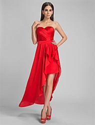 Sheath / Column Sweetheart Asymmetrical Satin Chiffon Cocktail Party Formal Evening Dress with Sash / Ribbon Side Draping by TS Couture®