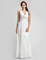 cheap -Sheath / Column Cowl Neck Floor Length Chiffon Bridesmaid Dress with Ruching Side Draping by LAN TING BRIDE®