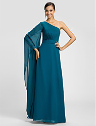 Sheath / Column One Shoulder Floor Length Chiffon Bridesmaid Dress with Sash / Ribbon Side Draping by LAN TING BRIDE®