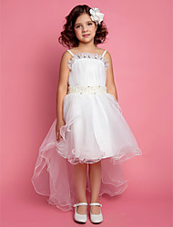 A-Line Princess Knee Length Flower Girl Dress - Satin Tulle Sleeveless Spaghetti Straps with Pearl
