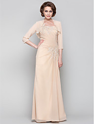 cheap -Sheath / Column One Shoulder Floor Length Chiffon Mother of the Bride Dress with Beading / Appliques / Criss Cross by LAN TING BRIDE® / Wrap Included