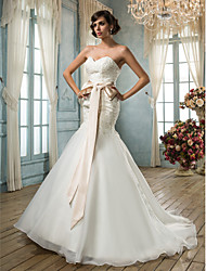 cheap -Mermaid / Trumpet Sweetheart Neckline Sweep / Brush Train Organza Made-To-Measure Wedding Dresses with by LAN TING BRIDE®