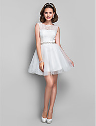 A-Line Princess Jewel Neck Short / Mini Lace Tulle Cocktail Party Dress with Crystal Detailing Lace by TS Couture®