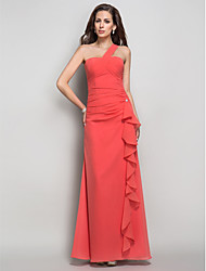 Sheath / Column One Shoulder Floor Length Chiffon Prom Dress withCrystal Brooch Cascading by TS Couture®