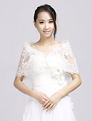 cheap -Long Sleeves Lace Wedding Party Evening Wedding  Wraps With Lace Ruffles Shrugs