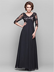 cheap -A-line V-neck Floor-length Chiffon Lace Mother of the Bride Dress with Beading by LAN TING BRIDE®