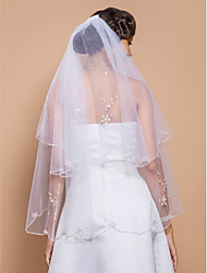 Two-tier Beaded Edge Wedding Veil Fingertip Veils With Sequin Pearls 27.56 in (70cm) Tulle A-line, Ball Gown, Princess, Sheath/ Column,