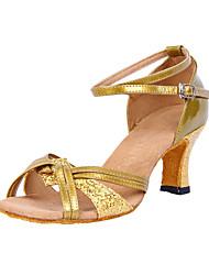 Dansesko(Sølv Guld) -Kan tilpasses-Personligt tilpassede hæle-Damer-Latin Ballet