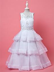 Vestito dalla ragazza di fiore di lunghezza della caviglia dell'abito di sfera di linea - il collo di gioiello sleeveless di organza da laning bride®