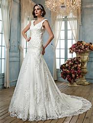 abordables -Trompeta / Sirena Reina Anne Corte Tul Vestidos de novia personalizados con Cuentas Apliques Botón por LAN TING BRIDE®