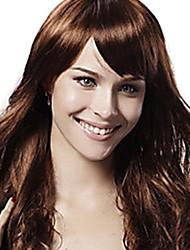 Capless Mixed Hair Long Wavy Light Chestnut Brown Hair Wig