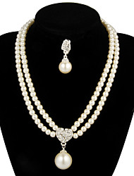 Women's Pearl Wedding Party Anniversary Engagement Gift Pearl Alloy Earrings Necklaces