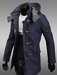 billige -Mænds krave hoodie syninger trench coat