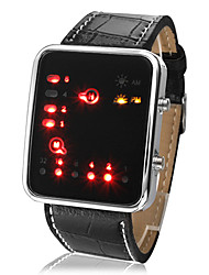 cheap -Unisex Women's Men's Watch LED Binary System Display Black PU Leather Wrist Watch Fashion  Cool Watch Unique Watch