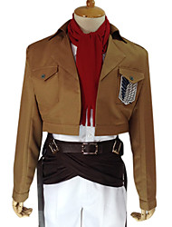 cheap -Inspired by Attack on Titan Mikasa Ackermann Anime Cosplay Costumes Cosplay Suits Solid Colored Long Sleeves Coat Shirt Pants Belt Waist