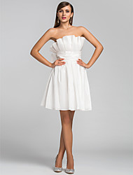 A-Line Princess Strapless Short / Mini Taffeta Cocktail Party Homecoming Dress with Ruching Ruffles by TS Couture®