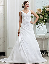 A-Line V-neck Chapel Train Taffeta Wedding Dress with Side-Draped by LAN TING BRIDE®