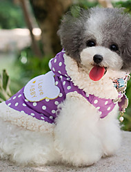 abordables -Perro Abrigos Ropa para Perro A Lunares Morado Rosa Algodón Disfraz Para mascotas