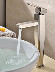 Contemporary Vessel Ceramic Valve One Hole Single Handle One Hole Nickel Brushed , Bathroom Sink Faucet