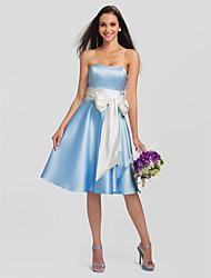 A-Line Strapless Knee Length Satin Stretch Satin Bridesmaid Dress with Bow(s) Sash / Ribbon Pleats by LAN TING BRIDE®