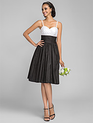A-Line Princess Spaghetti Straps Knee Length Taffeta Bridesmaid Dress with Ruching Criss Cross by LAN TING BRIDE®