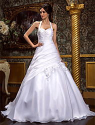 A-Line Princess Halter Sweep / Brush Train Organza Wedding Dress with Beading Appliques Criss-Cross Flower Side-Draped by LAN TING BRIDE®
