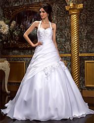 Linea-A Da principessa All'americana Strascico a terra Organza Vestito da sposa con Perline Con applique Incrociato Floreale Drappeggio a