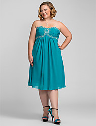 A-Line Strapless Sweetheart Knee Length Chiffon Holiday Dress with Beading by TS Couture®