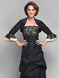 Women's Wrap Shrugs 3/4-Length Sleeve Lace / Organza Black Wedding / Party/Evening Scoop Lace Open Front