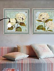 baratos -Floral/Botânico Quadros Emoldurados / Conjunto Emoldurado Wall Art,PVC Cinzento Sem Cartolina de Passepartout com frame Wall Art