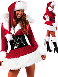 Santa Suits Cosplay Costumes Female Christmas Festival/Holiday Halloween Costumes Red
