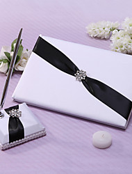 Guest Book Pen Set Satin Garden ThemeWithSash Rhinestones Wedding Ceremony