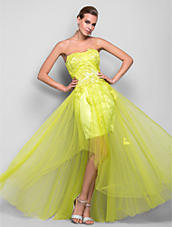 cheap -A-Line Princess Strapless Floor Length Satin Tulle Prom Dress with Appliques Draping Split Front by TS Couture®