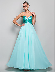 cheap -A-Line / Princess Strapless / Sweetheart Neckline Floor Length Chiffon / Sequined Prom / Formal Evening Dress with Draping by TS Couture®