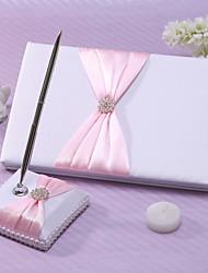 Guest Book Pen Set Satin Garden ThemeWithSash Rhinestones Wedding Ceremony