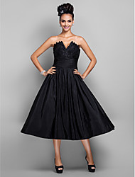 A-Line Princess V-neck Tea Length Taffeta Cocktail Party Homecoming Prom Holiday Dress with Draping Ruching by TS Couture®