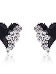 cheap -Rhinestone Drop Earrings Heart White, Black