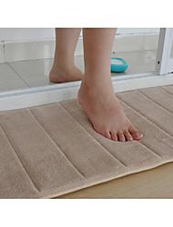 """Bath Mat Memory Foam Beige Stripe 16 x 24 """"Non Skid"""