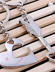 cheap -A Pair Lover Heart and Arrow Shaped Silver Keychains